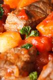 Beef stew with vegetables in a tomato macro. Vertical Royalty Free Stock Photo