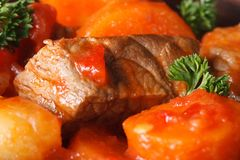 Beef stew with vegetables in a tomato macro Stock Photos