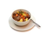 Beef stew on white background Royalty Free Stock Photos