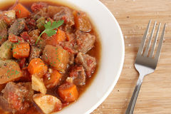 Beef stew. In white plate Royalty Free Stock Photos