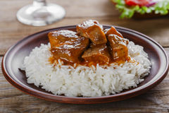 Beef stew with white rice Royalty Free Stock Photography