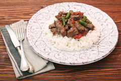 Beef stew with white rice and sauce Royalty Free Stock Image