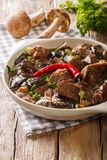 Beef stew with wild mushrooms, onion and chili pepper close up i Royalty Free Stock Image