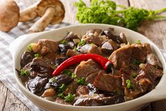 Beef stew with wild mushrooms, onion and chili pepper in spicy s Royalty Free Stock Image