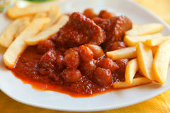Beef stifado with french fries Stock Image
