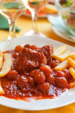 Beef stifado with french fries Royalty Free Stock Photos