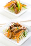 Beef Stir Fry. Stir Fry with beef, rice noodles, and sprouts Royalty Free Stock Photo