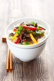 Beef stir-fry. With vegetable and rice Stock Photos