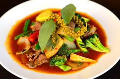 Beef stir fry with chili sauce and vegetables. Thai spicy food royalty free stock image