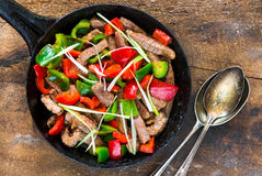 Beef stir fry. With peppers and oyster sauce - top view Stock Photo