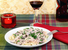 Beef Stroganoff and egg noodles Royalty Free Stock Images