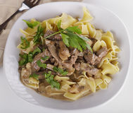 Beef Stroganoff. With Egg Noodles Royalty Free Stock Image
