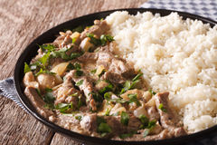 Beef stroganoff garnished with rice close-up on a plate. horizon Royalty Free Stock Photo