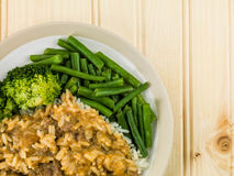 Beef Stroganoff With Long Grain Rice Green Beans and Broccoli royalty free stock photo