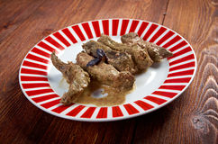 Beef stroganoff made of liver Royalty Free Stock Images
