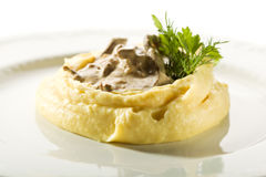 Beef Stroganoff with Mashed Potato Stock Images