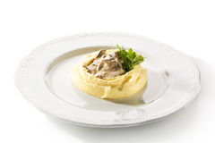 Beef Stroganoff with Mashed Potato Stock Photography