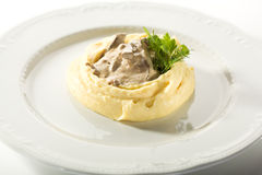 Beef Stroganoff with Mashed Potato Stock Photos