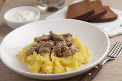 Beef Stroganoff with mashed potato Royalty Free Stock Photography