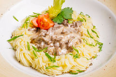 Beef Stroganoff with mashed potatoes. Royalty Free Stock Photos