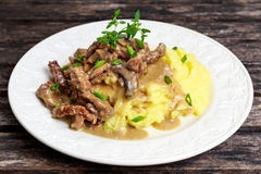 Beef Stroganoff with mashed potatoes. Royalty Free Stock Image