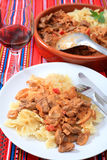 Beef stroganoff meal vertical Stock Photos