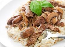 Beef stroganoff met rijst Royalty-vrije Stock Foto's