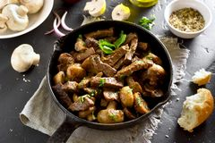 Beef stroganoff with mushrooms stock photography
