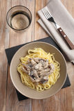 Beef Stroganoff with mushrooms and pasta Stock Photo