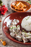 Beef Stroganoff with mushrooms and rice. Russian kitchen Stock Images