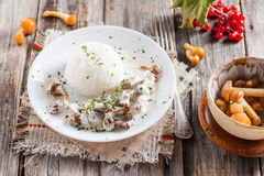 Beef Stroganoff with mushrooms and rice. Russian kitchen Royalty Free Stock Photography