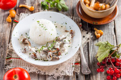 Beef Stroganoff with mushrooms and rice. Russian kitchen Royalty Free Stock Photos