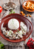 Beef Stroganoff with mushrooms and rice. Russian kitchen Stock Photos
