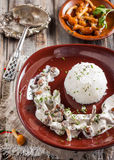 Beef Stroganoff with mushrooms and rice. Russian kitchen Stock Photography