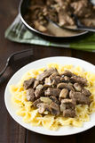 Beef Stroganoff on Pasta Stock Images