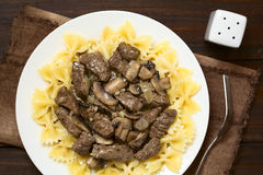 Beef Stroganoff on Pasta Stock Photos