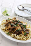 Beef stroganoff with pasta Stock Images