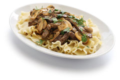 Beef stroganoff with pasta, russian cuisine Royalty Free Stock Photo