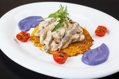 Beef Stroganoff on a potato pancake with sauce Royalty Free Stock Image