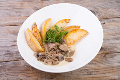 Beef stroganoff with potatoes Royalty Free Stock Photos