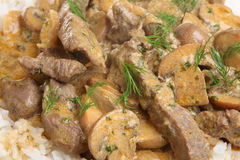 Beef Stroganoff with Rice Royalty Free Stock Photography