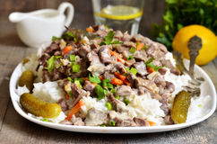 Beef Stroganoff with rice garnish. Royalty Free Stock Photo
