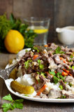 Beef Stroganoff with rice garnish. Royalty Free Stock Image