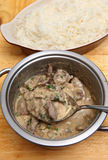 Beef stroganoff and rice vertical Royalty Free Stock Image