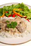 Beef stroganoff with salad Royalty Free Stock Photography