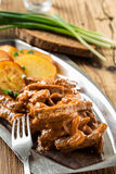 Beef Stroganoff, strips of beef in sour cream served with crisp Stock Photos