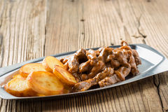 Beef Stroganoff, strips of beef in sour cream served with crisp Royalty Free Stock Image