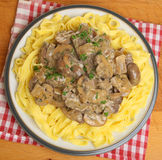 Beef Stroganoff with Tagliatelle Pasta Stock Images