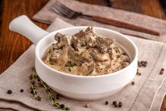 Beef stroganoff. The traditional dish of Russian cuisine. royalty free stock photo