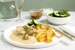 Beef Stroganoff Traditional Russian Dish Of Beef In Sauce, Served With Fried Potatoes, Canned Cucumbers, Vodka. Stock Images
